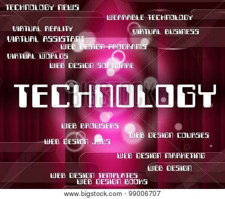 Technology Word Indicates Electronics Electronic And Words