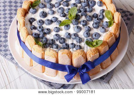 Delicious Fresh Blueberry Cake Charlotte Close-up. Horizontal