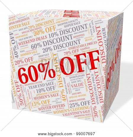 Sixty Percent Off Indicates Word Text And Retail