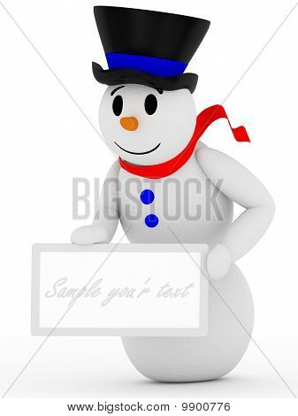 3D Smiling Snowman With Sign