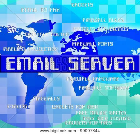 Email Server Indicates Computer Servers And Contact