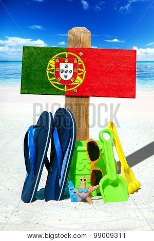 Wooden Signboard With Portugal Flag