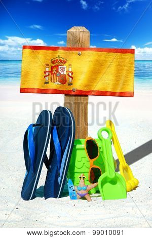 Wooden Signboard With Spain Flag