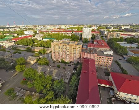 City quarters from helicopter. Tyumen. Russia