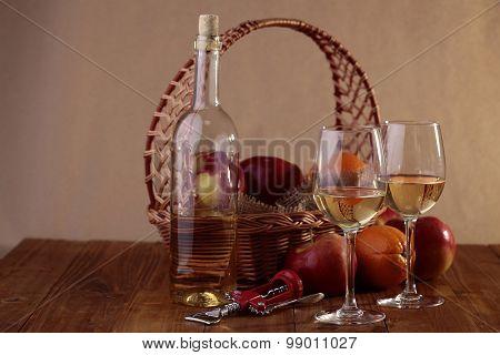 Fruit Basket And Wine
