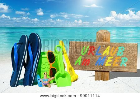 Beach Toys And Wooden Signboard With Text