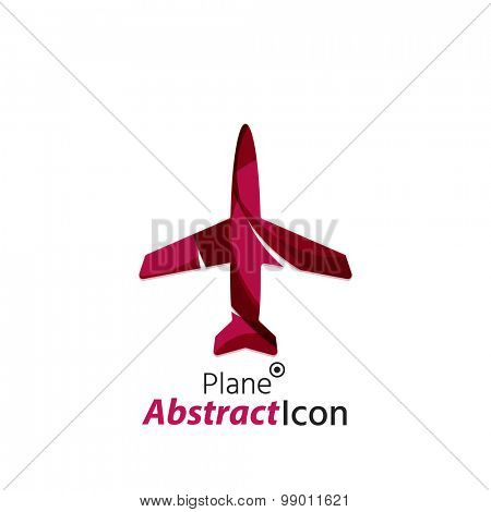 Abstract geometric business corporate emblem - airplane. Logo icon design for travel or any other idea