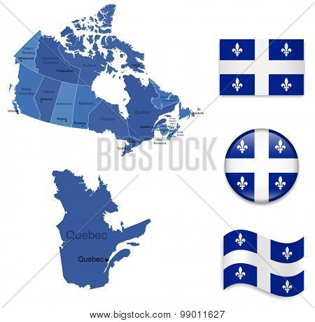 Canada-Quebec-Map and Flag Collection