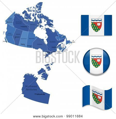 Canada-Nortwest Territories-Map and Flag Collection