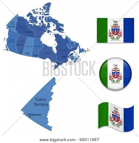 Canada-Yukon-Map and Flags Icon Collection