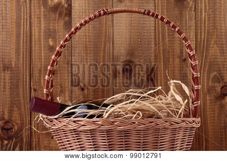 Wine Bottle In Basket