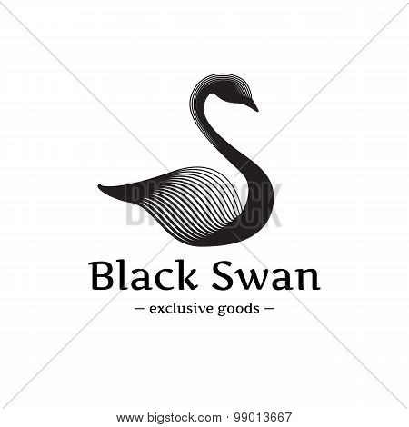 Vector minimalistic swan logo. Beautiful black ink style logotype