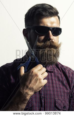 Isolated On White Man With Scissors