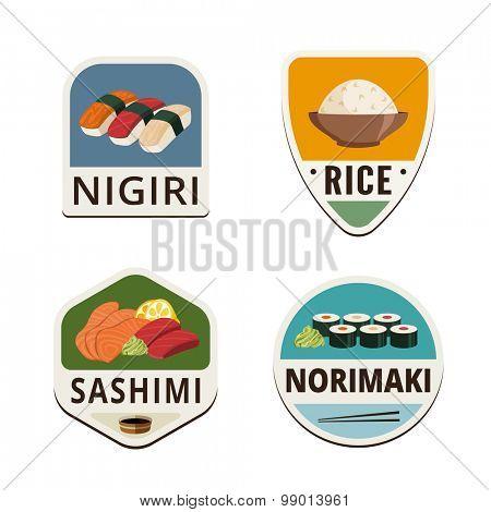 Japanese cuisine Flat labels shields design vector logo templates.  Nigiri, Rice, Sashimi, Norimaki Logotype illustrations icons
