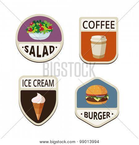 Fast Food menu vintage labels shields design vector logo templates.  Fastfood salad, coffee take away, ice cream, burger illustrations icons