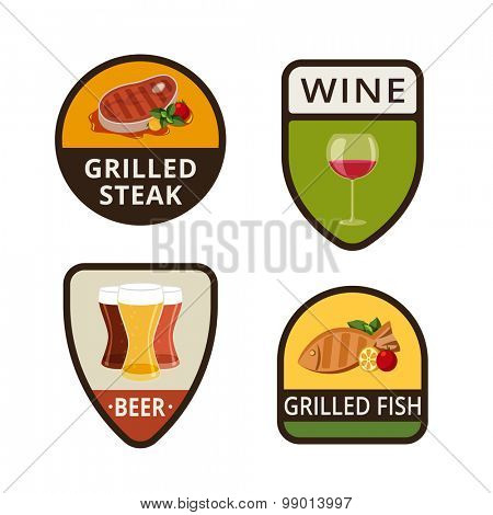 Grill menu vintage labels shields design vector logo templates.  Drink icons. Grilled Steak, Grilled Fish, Wine, Beer illustrations