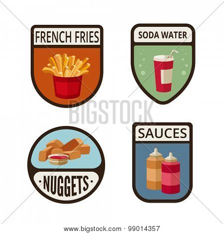 Fast Food vintage labels design vector logo templates icons.  Fastfood Logotype icons set. French fries, Cola, Nuggets, Sauces retro illustrations.