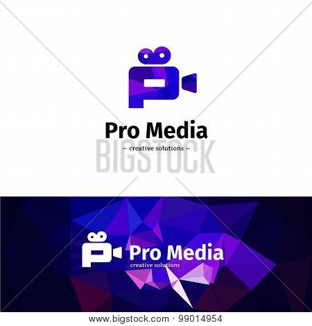 Vector low poly camera logo. Media business P letter logotype with geometric background