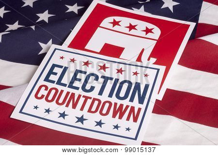 Republican Election Vote Countdown And American Flag