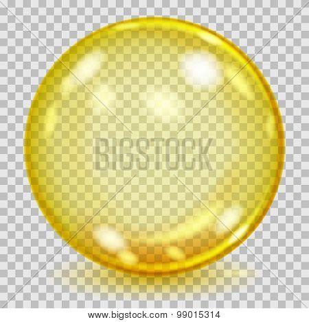 Big Yellow Transparent Glass Sphere. Transparency Only In Vector File