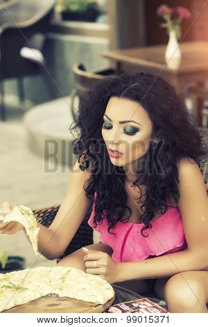 Sexy Woman Eating Pizza