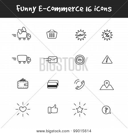 Vector outline black and white 16 e-commerce icons set. Online shop symbols collection