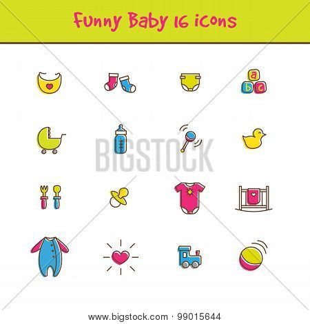 Vector outline colorful 16 baby icons set in funny style. Newborn theme symbols collection