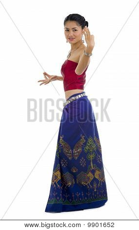 Asian Dancing In Traditional Clothes