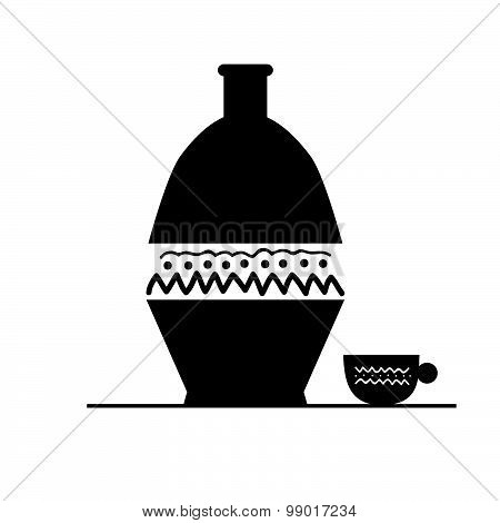pitcher and cup black vector