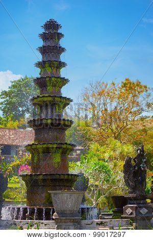 Ten-tiered Decorative Fountain At Tirta Gangga In Indonesia