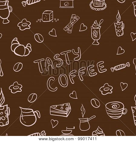 Vector seamless pattern of tasty coffee hand drawn doodles