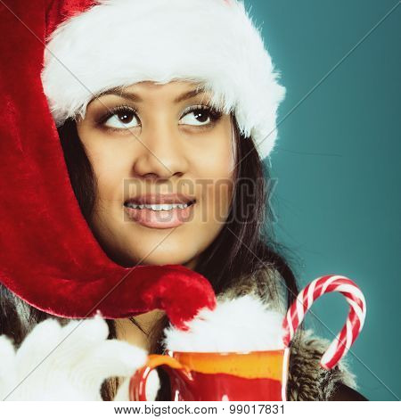 Winter Girl Santa Helper Hat Holds Red Mug