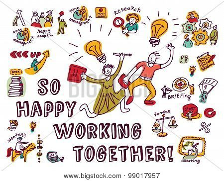 Happy business creative couple work ink