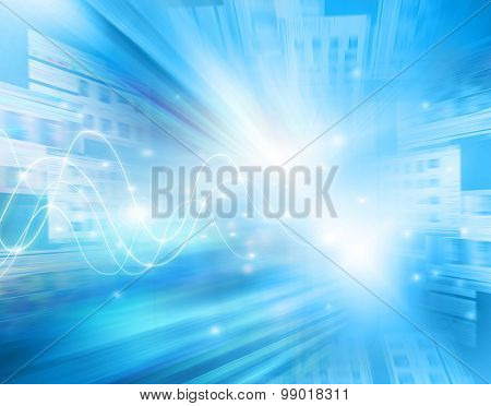 Technology background, from series best concept of global business. Abstract blue background. Bright lines and rays, symbols of the Internet, radio, television, mobile and satellite communications