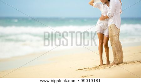 Summer sea couple,  barefoot walk on the beach