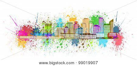 Vancouver Bc Skyline Paint Splatter Illustration
