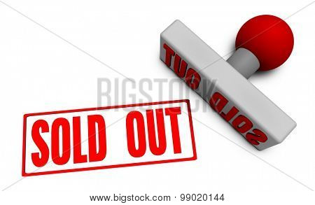 Sold Out Stamp or Chop on Paper Concept in 3d