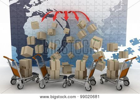 Conception of logistic is in world trade. 3d illustration on white background
