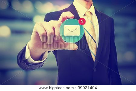 Business Man Holding An Email Icon