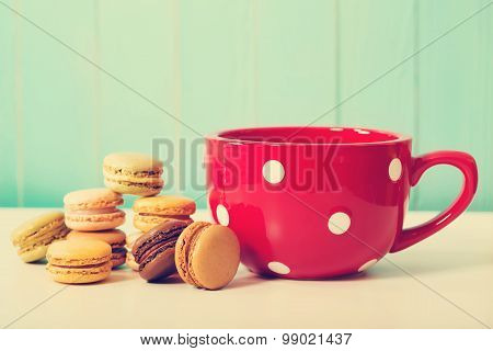 Red Polka Dot Coffee Mug With Macarons