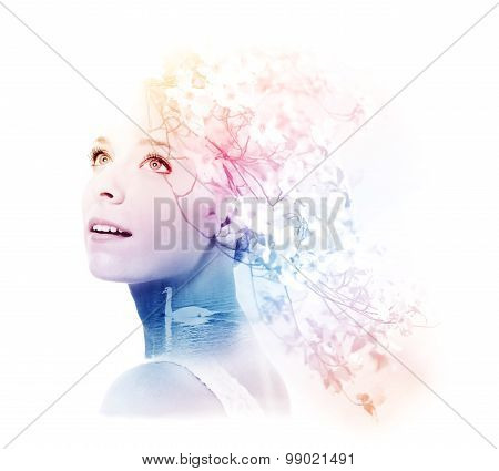 Double Exposure Of Young Woman With Swan And Dogwood