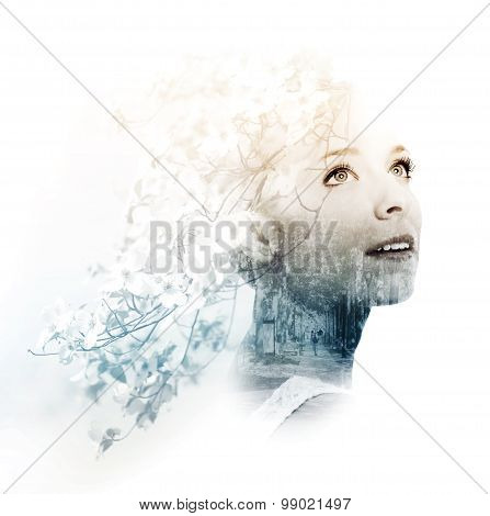 Double Exposure Of Young Woman With Street And Doogwood