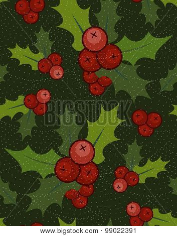 Christmas seamless pattern with holly berries.