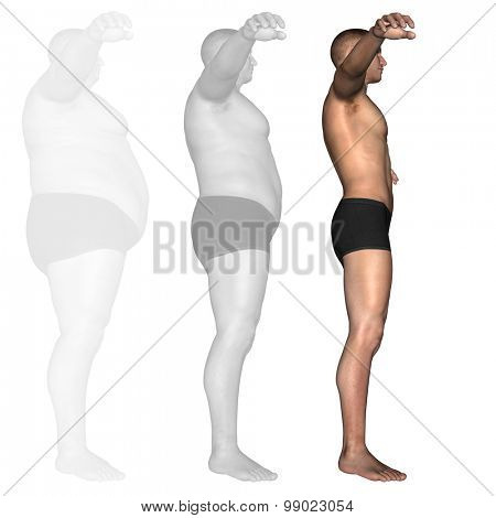 Concept or conceptual 3D fat overweight vs slim fit diet with muscles young man isolated on white background