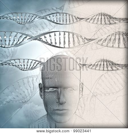 3D medical background with DNA strands and male face with partial sketch phase