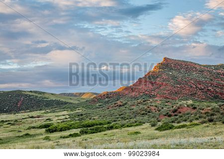 Red Mountain Open Space in northern Colorado near Fort Collins, summer scenery at sunset