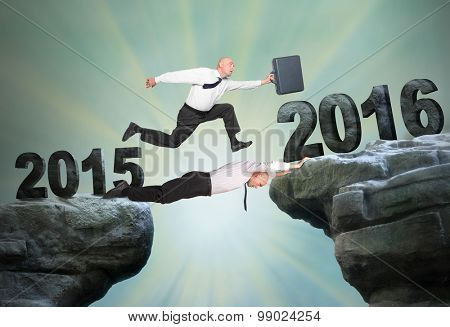 Businessman running to The New Year 2016. Happy New Year for your business.