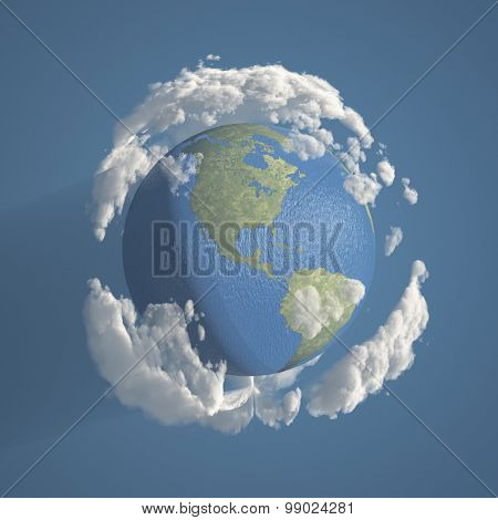 Earth with Clouds 3D