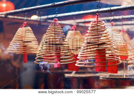 Circular incenses burning in Man Mo Temple, Hong Kong, China