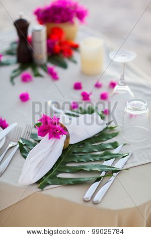 Beautifully served table for romantic event celebration or wedding